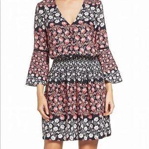 NWT Eliza J Boho Smocked Bell Sleeve Dress